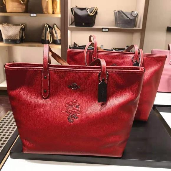 New Coach MInnie Motif City tote pebble leather black gold 38621 Disney bag zip